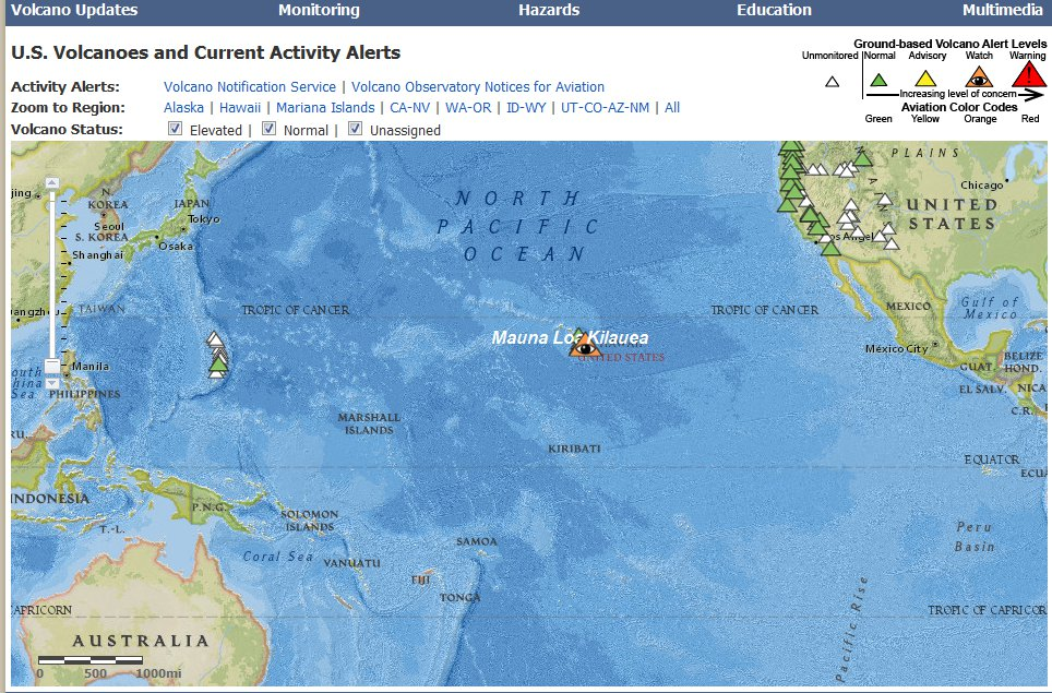 U.S. Volcanoes and Current Activity Alerts